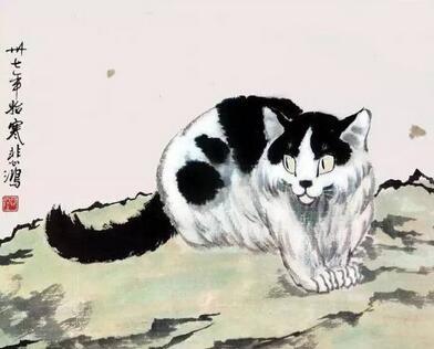 徐悲鸿画猫的笔墨功夫值得一看