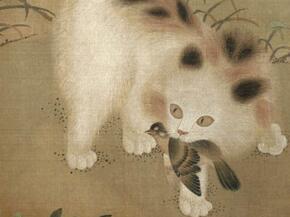 """古画中的猫,""""黄身白肚者,名金被银床"""""""