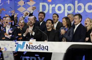 云存储公司Dropbox周五正式登陆纳斯达克 上市首日股价大涨逾35%