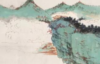 张大千的青绿山水画作,充满诗情画意!