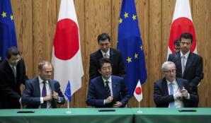 日本和欧盟签署全球最大的双边贸易协定