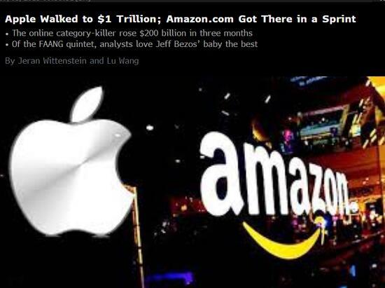 同样登顶万亿 苹果与亚马逊的难度系数可谓天壤之别