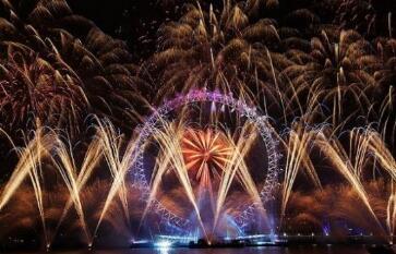 伦敦眼跨年焰火秀迎接2019年