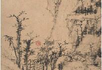 清初四僧弘仁《山水册》纸本墨笔 1662年作 广东省博物馆藏
