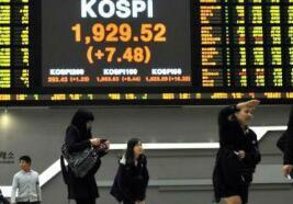亚太股市周三涨跌不一,韩国Kospi指数上涨1.4%