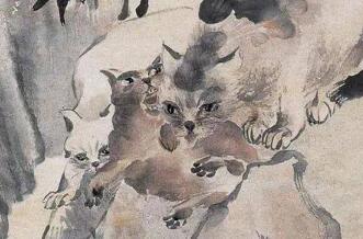 任伯年笔下的猫图,布局简淡,生动活脱